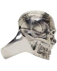 Alexander McQueen | Metallic Silver Etched Diamante Skull Ring for Men | Lyst