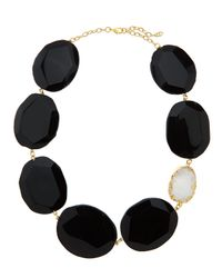 Panacea - Black Oversized Stone & Druzy Station Necklace - Lyst