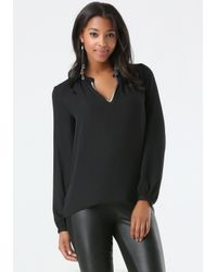 Bebe | Black Metallic Neck Blouse | Lyst