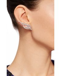 AS29 | Metallic Flow Small Four-line Earrings With Pear Shaped Diamonds | Lyst