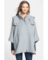 DKNY | Gray 'blythe' Hooded Wool Blend Cape | Lyst