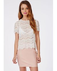 5dccd68f62ebd Lyst - Missguided Scallop Lace Shell Top White in White