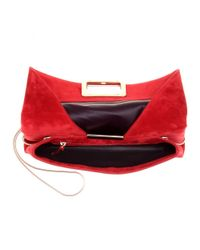 Roger Vivier - Red Ines Suede Clutch - Lyst
