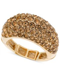 T Tahari | Metallic Gold-tone Pavé Stretch Ring | Lyst