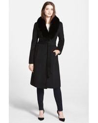 Ellen Tracy Black Genuine Fox Collar Wool Blend Long Wrap Coat