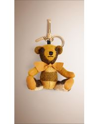 Burberry - Yellow Thomas Bear Check Cashmere Charm  - Lyst