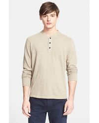 Rag & Bone | Brown Slub Cotton Henley for Men | Lyst