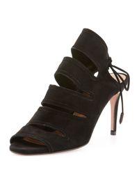Aquazzura | Black Sloan Suede Tie-Back Sandal | Lyst