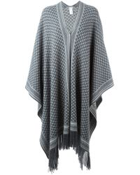 Lala Berlin - Gray Open Front Fringed Poncho - Lyst