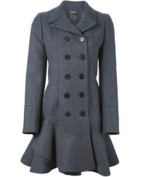 Alexander McQueen - Gray Ruffle Double Breasted Coat - Lyst