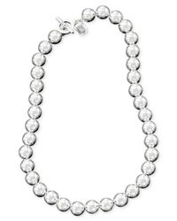 "Lauren by Ralph Lauren | Metallic 16"" Silver-Tone Metal Bead Necklace (10 Mm) 