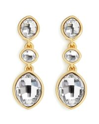 Kenneth Jay Lane | Metallic Plated Crystal Drop Earrings | Lyst