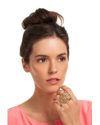 Trina Turk | Metallic Domed Flower Cocktail Ring | Lyst