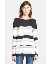 Vince - Black Engineered Stripe Long Sleeve Tee - Lyst