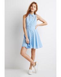 Forever 21 - Blue Eyelet Yoke A-line Dress - Lyst