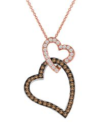 Le Vian | Pink 14k Rose And White Gold Brown And White Diamond Heart Pendant Necklace | Lyst