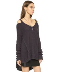 Free People | Black Moonshine V Neck Sweater | Lyst