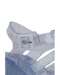 AKIRA - Multicolor Gladiator Thick Heel Jelly Clear Glitter Sandals - Lyst