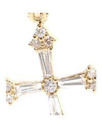 Stone - Metallic Heaven 18kt Gold Cross Earrings with White Diamonds - Lyst