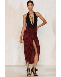Nasty Gal - Red Wrap Your Mind Maxi Skirt - Lyst