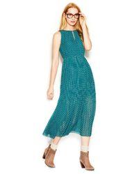 Maison Jules - Green Sleeveless Pleated Printed Midi Dress - Lyst