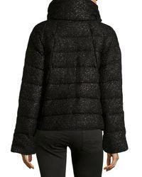 Diane von Furstenberg - Black Hall Sparkle Quilted Puffer Coat - Lyst