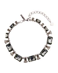 Oscar de la Renta - Black Swarovski Crystal Embellished Necklace - Lyst