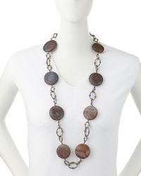 Armenta - Metallic Agate & Diamond Link Station Necklace - Lyst