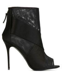 Giuseppe Zanotti | Black Mesh Panel Stiletto Boots | Lyst