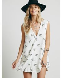 Free People - White Womens Jagger Printed Mini Dress - Lyst