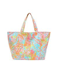 Lilly Pulitzer - Blue Print Canvas Beach Tote - Lyst
