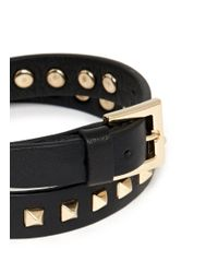 Valentino | Metallic Rockstud Double Wrap Leather Bracelet for Men | Lyst