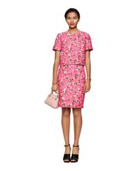 kate spade new york | Pink Rose Brocade Lummi Top | Lyst