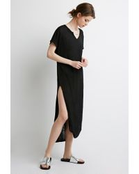 Forever 21 - Black Slub Knit High-slit Dress - Lyst