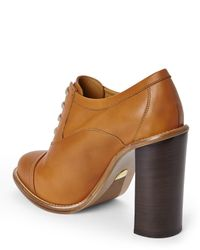 Chloé - Brown Chlo㉠Leather Oxford Booties - Lyst