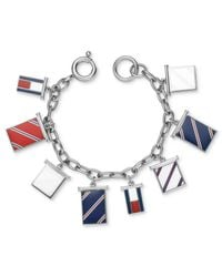 Tommy Hilfiger - Metallic Stainless Steel Flag Charm Bracelet - Lyst