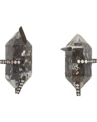 Monique Péan | Black Diamond, White Gold & Herkimer Stud Earrings | Lyst