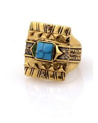 House of Harlow 1960 - Blue Cushion Cocktail Ring With Turquoise - Lyst