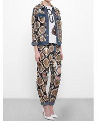 Ashish - Blue Snakeskin Sequinned Denim Jacket - Lyst