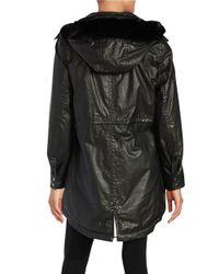 Calvin Klein | Black Faux Fur-trimmed Raincoat | Lyst