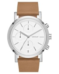 DKNY | Brown 'soho' Chronograph Leather Strap Watch | Lyst