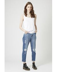 TOPSHOP | White Cotton Jersey Blend Vest | Lyst