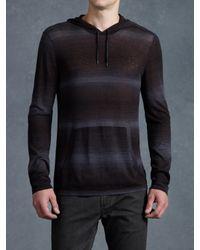 John Varvatos | Black Stripe Pullover Hoodie for Men | Lyst