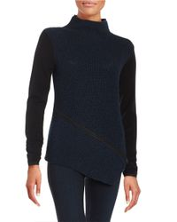 Elie Tahari | Blue Asymmetrical Cable-knit Sweater | Lyst