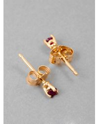 3c7af7d781 Blanca Monros Gomez Gold Tiny Ruby Stud Earring in Pink - Lyst