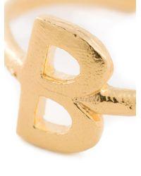 Bjorg | Metallic 'b Alphabet Ring' | Lyst