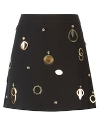 Stella McCartney - Black Appliqué Detail A-line Skirt - Lyst
