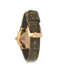 Emporio Armani - Pink Rose Gold-tone Stainless Steel Women's Watch W/brown Cracked Leather Strap - Lyst