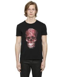 Alexander McQueen | Black Victorian Marble-print Skull Cotton T-shirt for Men | Lyst