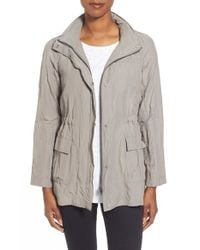 Eileen Fisher | Gray Stand Collar Crinkled Jacket | Lyst
